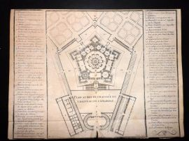 Vignola 1720 Architectural Plan of the Villa Farnese, Rome, Italy 123